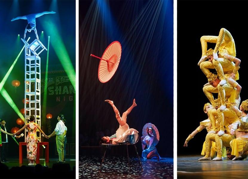 Unieke shows onder ander door het Chinees nationale circus.