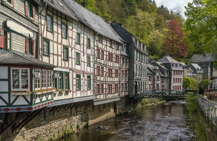 Vakwerkhuizen in Monschau in de Eifel