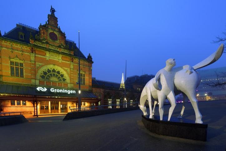 Dagje uit Groningen stad Peerd van Ome Loeks voor het centraal station